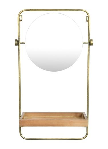 Warm Design Dekoratif Ahşap Raflı Metal Duvar Aynası Altın